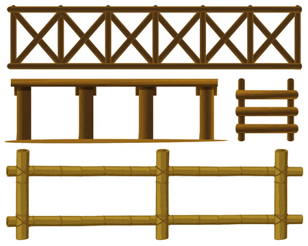 Illustration of different design of fences Vector