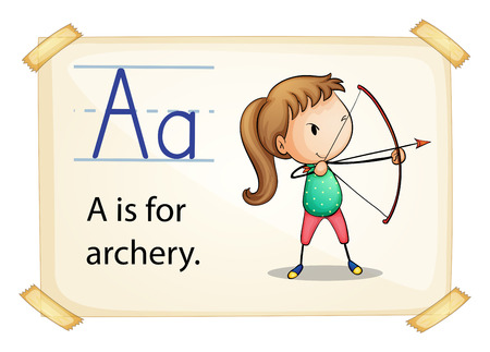 preschool poster: Illustration of letter A is for archery