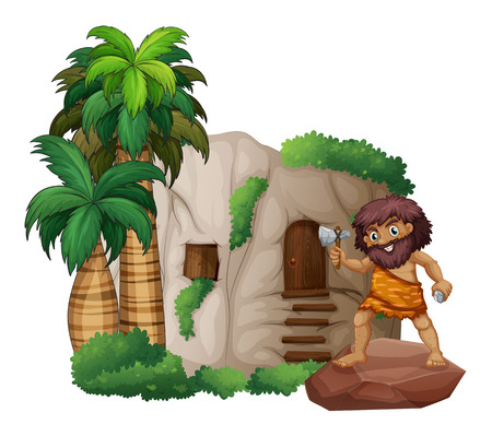 Illustration of a caveman standing in front of a house Vector