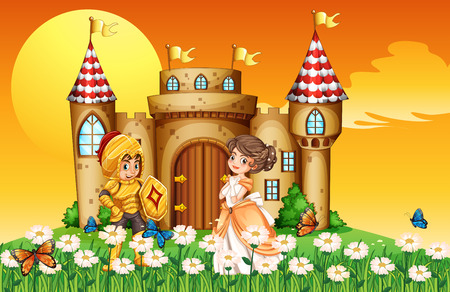 cartoon knight: A princess and a knight outside the castle
