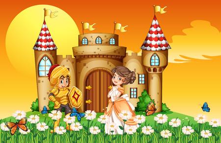 Eine Prinzessin und ein Ritter vor dem Schloss Standard-Bild - 34645931