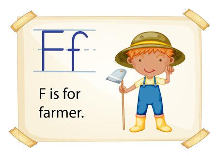 phonetic: Illustration of letter F is for farmer