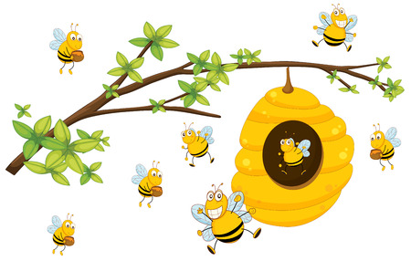 Illustration of bee flying around a beehive Vectores