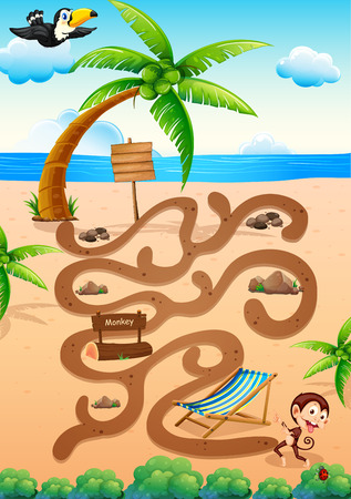 fruit clipart: Illustration of a maze game with beach background
