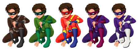 Illustration of superhero in different color costumes Vector