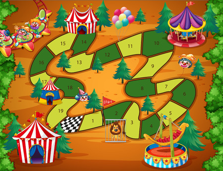 Boardgame with numbers and circus theme Illustration