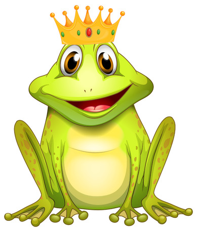 jump up: Poster of a green frog prince with a crown Illustration