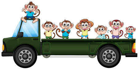 scratching: Illustration of many monkeys riding on a truck