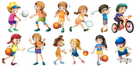 balon de voley: Ilustración de los niños haciendo diferentes deportes