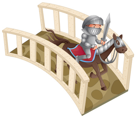 Illustration of a knight riding a horse over the bridge Vector