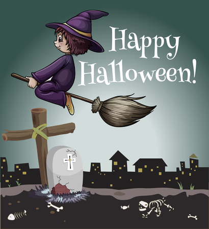 untrue: A happy halloween poster with a witch