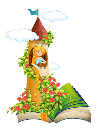 Illustration of a story book of a princess in a tower
