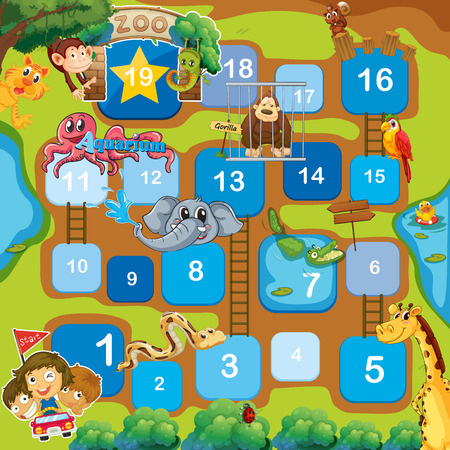 snakes and ladders: A boardgame with animals, numbers and ladders