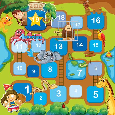 Un juego de mesa con los animales, los números y las escaleras