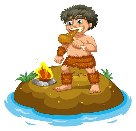 Illustration of a caveman eating chicken Vector