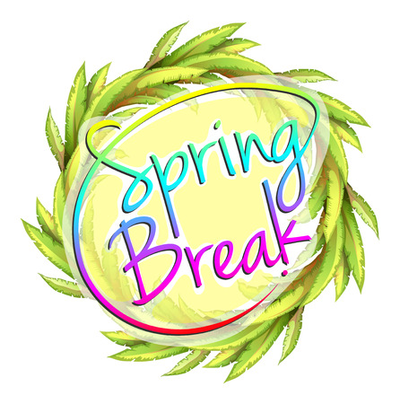 spring break: A spring break template on a white background