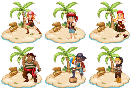 mujer pirata: Ilustración del conjunto de los piratas de la isla