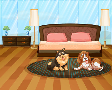 ergonomics: Two cute dogs inside the house Illustration