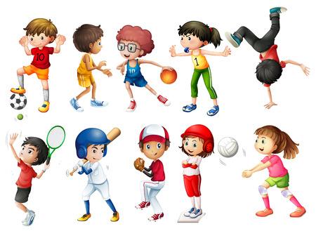 deportes colectivos: Ilustraci�n de ni�os jugando deportes