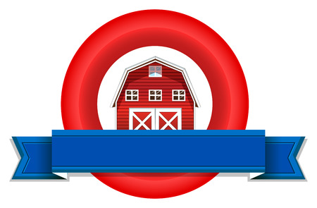 barnhouse: An empty label with a wooden barnhouse on a white background Illustration