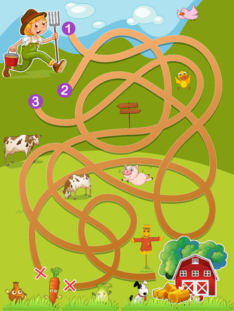 maze game: Illustration of a maze game with a farmer and barn