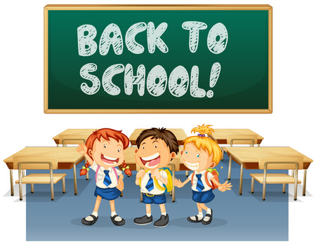 Illustration of students and a back to school board