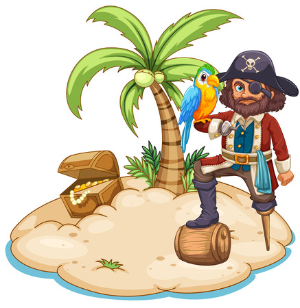 Illustration of a pirate and parrot on the island Illustration
