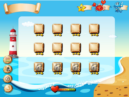 Illustration of a scene from a computer game with beach Vector