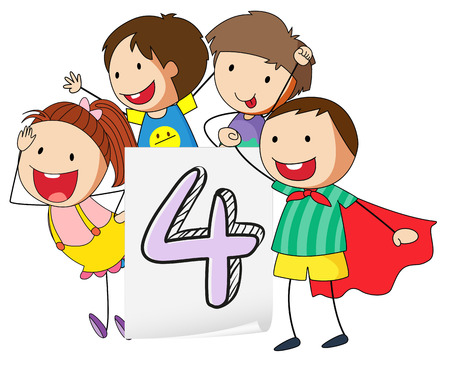 knowledge clipart: Illustration of number four with happy children