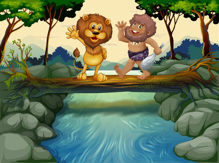 Illustration of a caveman and a lion crossing the river Vector
