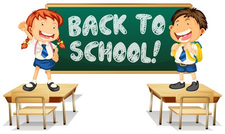 writing chair: Illustration of back to school sign Illustration