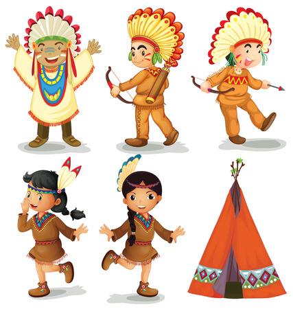 indios americanos: Ilustración de americanos indios rojos