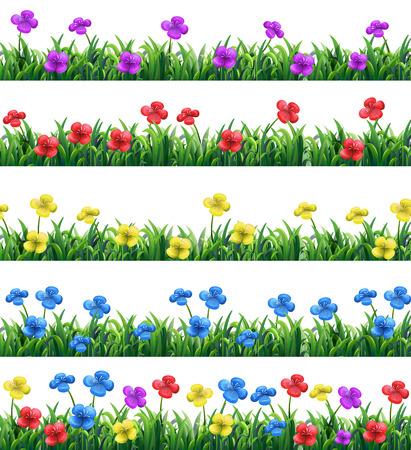 grasses: Illustration of different color flowers and grasses Illustration