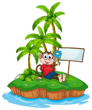 the land of menu: A monkey sitting beside the empty signboard on a white background Illustration