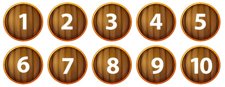 Illustration of wooden signs with number one to ten Vector