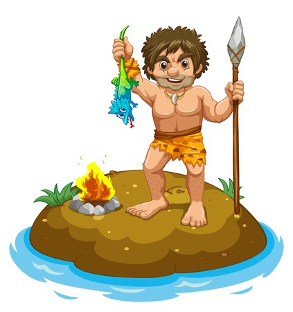 Caveman standing on a small island Vector