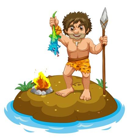 hombre prehistorico: Hombre de las cavernas de pie en una pequeña isla