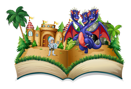 magic book: Illustration of a pop-up book with a knight and a dragon