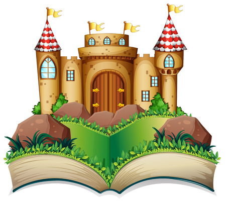 popup: Illustration of a pop-up book with castle