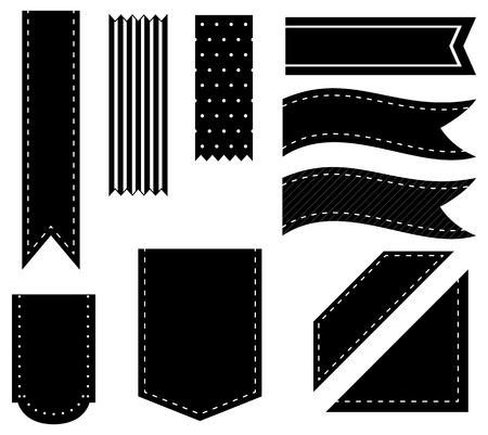 ruban noir: Illustration de différents modèles de rubans noirs Illustration