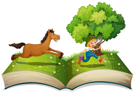 popup: Illustration of a pop-up book with a farmer and a horse
