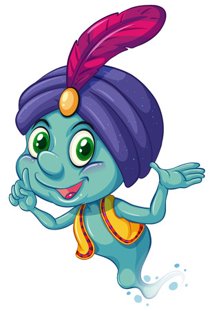 genie: Illustration of a blue genie smiling