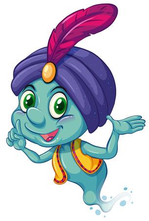 genio de la lampara: Ilustración de un genio azul sonriendo