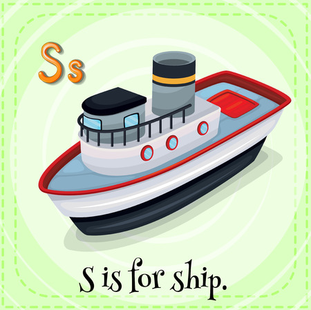 child s: Illustration of a letter S is for ship