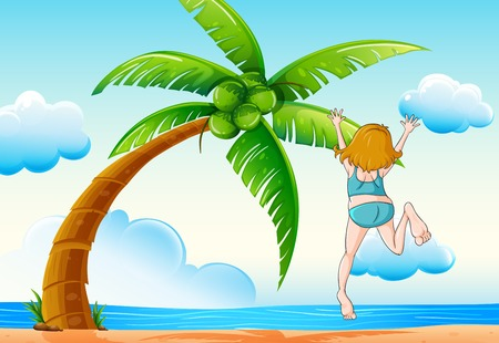 get away: Illustration of a girl jumping on the beach