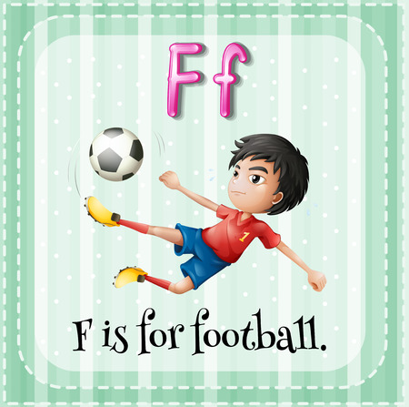 letter f: Illustration of an alphabet F is for football Illustration