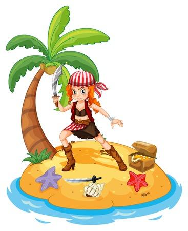 mujer pirata: Ilustración de una mujer pirata en una isla