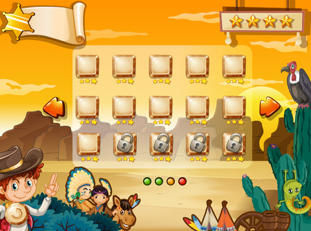 birds desert: Illustration of a scene from a computer game with western background
