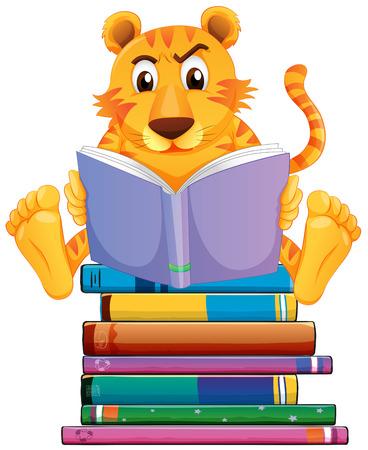 Illustration of a tiger reading books