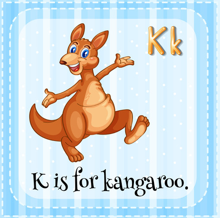 linguistic: Illustration of an alphabet k is for kangaroo